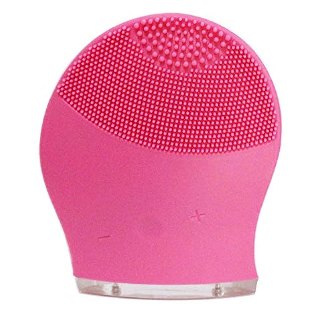 紫の前書きグッゲンハイム美術館ZXF 新電気洗浄器シリコーン洗浄器超音波振動洗浄ブラシUSB充電毛穴洗浄 滑らかである (色 : Red)