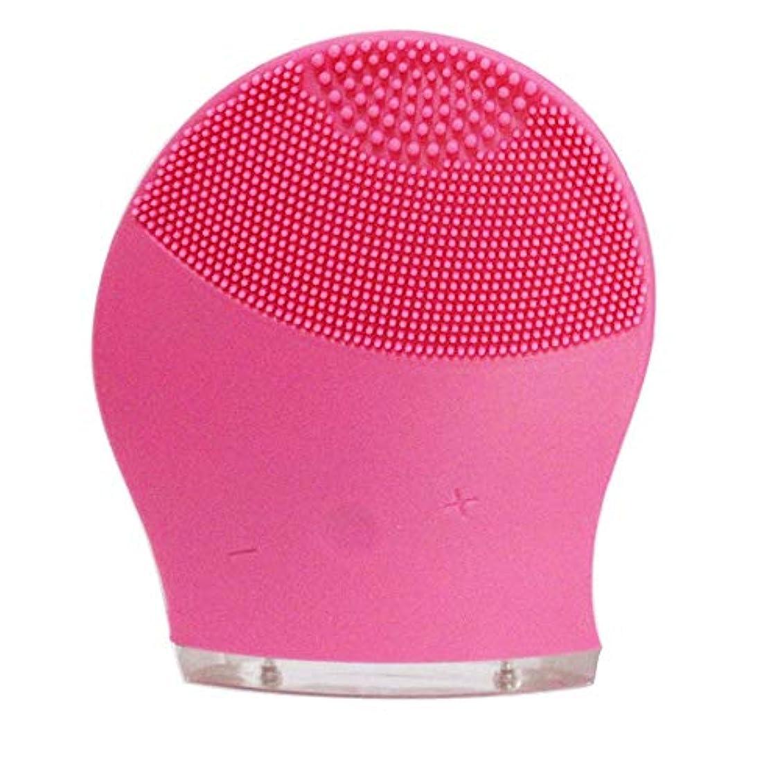 ファブリックとつばZXF 新電気洗浄器シリコーン洗浄器超音波振動洗浄ブラシUSB充電毛穴洗浄 滑らかである (色 : Red)