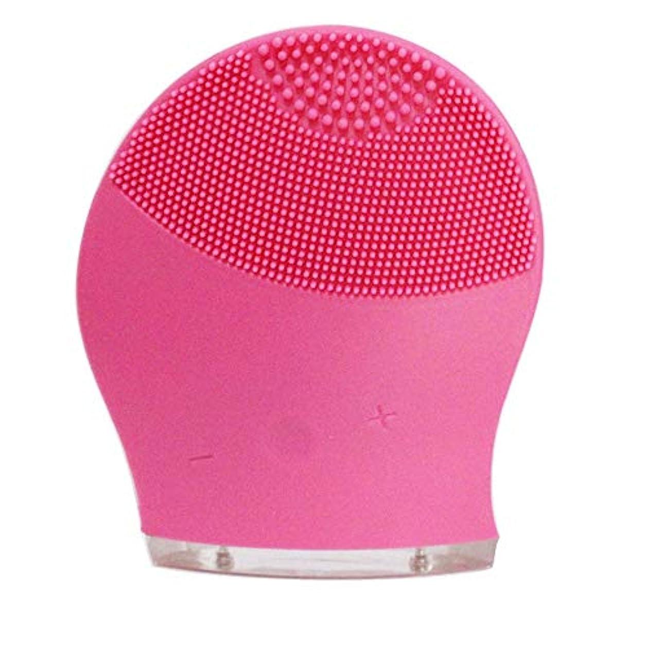ミット行き当たりばったりバーチャルZXF 新電気洗浄器シリコーン洗浄器超音波振動洗浄ブラシUSB充電毛穴洗浄 滑らかである (色 : Red)