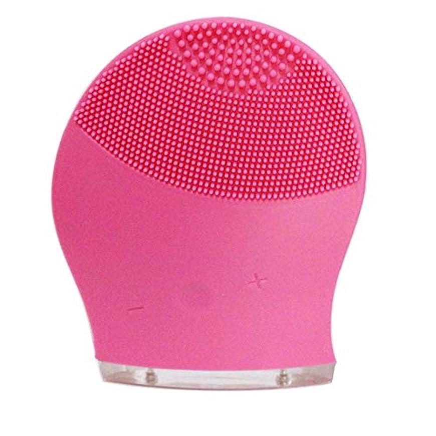 夫婦予知親愛なZXF 新電気洗浄器シリコーン洗浄器超音波振動洗浄ブラシUSB充電毛穴洗浄 滑らかである (色 : Red)