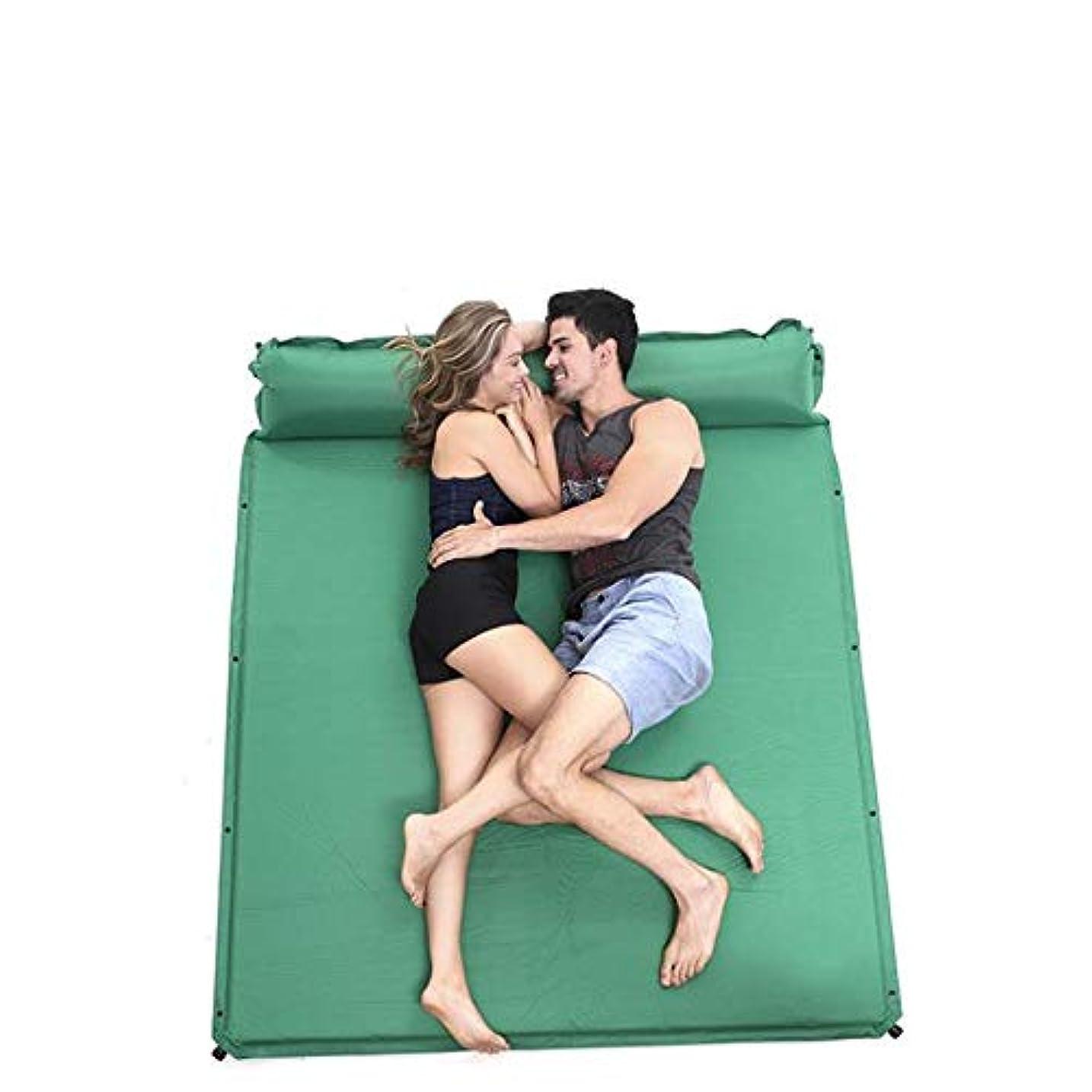 合成ウィザード読みやすさ付属の枕付き防水軽量2?3人用インフレータブル屋外エアマットレスラージコンパクトダブル自己膨張キャンプフォームスリーピングパッド (色 : 緑, サイズ : 74.8*64.9*1.38inches)
