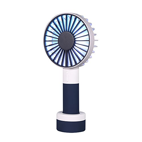 WAYONE ハンディ ファン 携帯扇風機 USB扇風機 充電式 ミニ 小型 手持ち 卓上置き両用扇風機 風量3段階調節 多色LEDライト付き ミニ ファン 7枚羽根 携帯便利 軽量 熱中症対策 (BLUE)