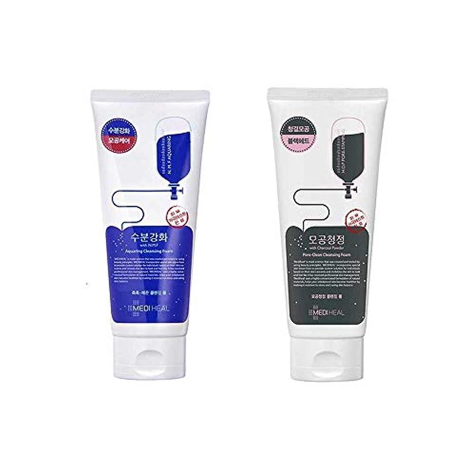 スリット誇張する騒1+1MEDIHEALクレンジングフォーム/(アクアリング+毛穴清浄炭)Cleansing Foam NMF+PORE CLEAN