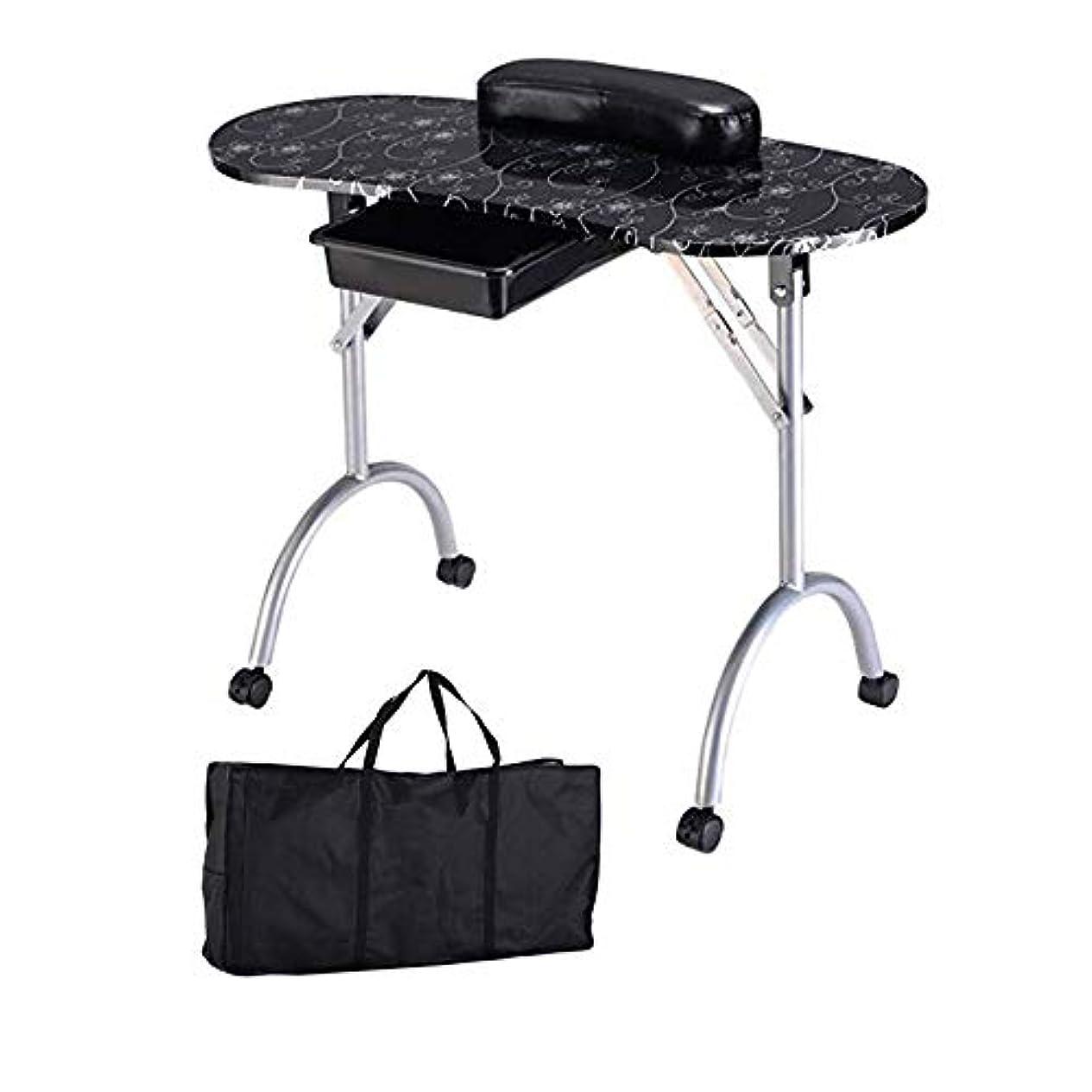 あえて高く無意識ポータブル折りたたみマニキュアテーブル、引き出し引き出し革ハンドピロープラスキャリーバッグ付きネイルテクニシャンワークステーション、ネイルアートビューティーサロンツール,黒