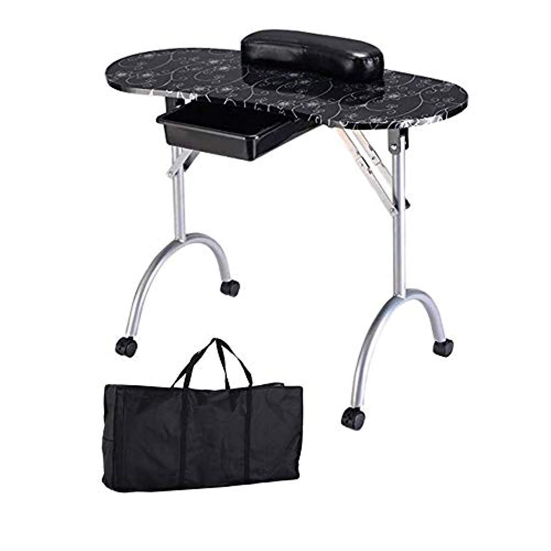 にんじん偽善者同様のポータブル折りたたみマニキュアテーブル、引き出し引き出し革ハンドピロープラスキャリーバッグ付きネイルテクニシャンワークステーション、ネイルアートビューティーサロンツール,黒