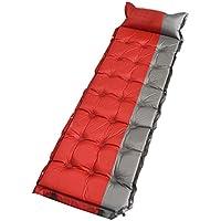 自動インフレータブルマットカジュアルシングルエアベッドアウトドアテントインフレータブルマットダブルステッチミッドデイトマットクッションエアマテルシングルブラックグレーレッドブルー192X62X5cm (色 : Red)