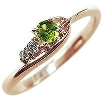 プレジュール 指輪 K10ピンクゴールド 一粒 シンプル ペリドット リング リングサイズ8号