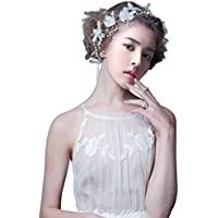 Flowers Pearl Garland Bridal Wedding Crown Floral Hair Headdress Headband Accessory Silver