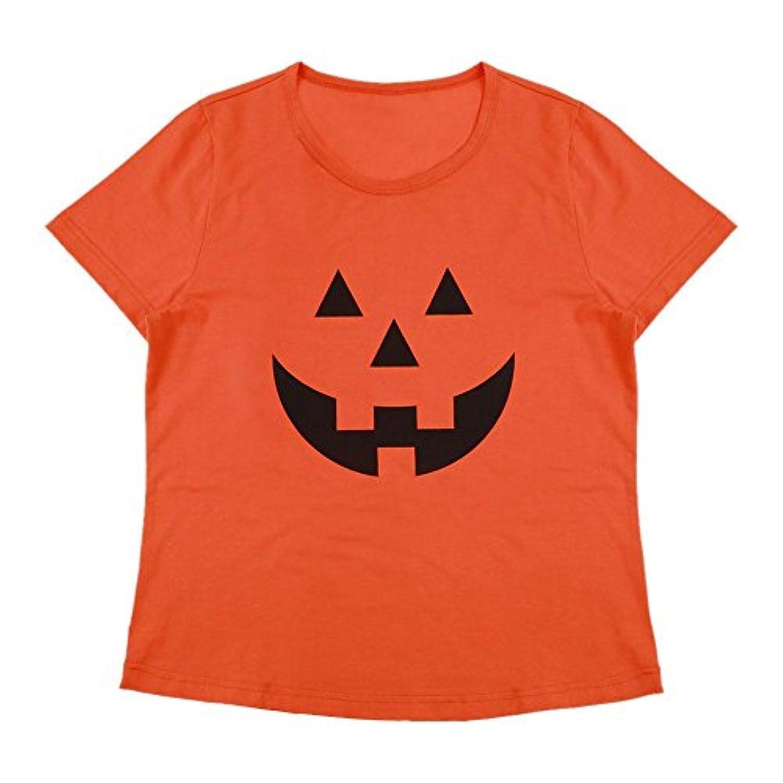Domybest 親子服 Tシャツ 大人 半袖 オレンジ色 春 夏 母親 父親 ハロウィン風 カボチャ柄 超柔らかい パーティー 旅行 家族写真 プレゼント カジュアル シンプル