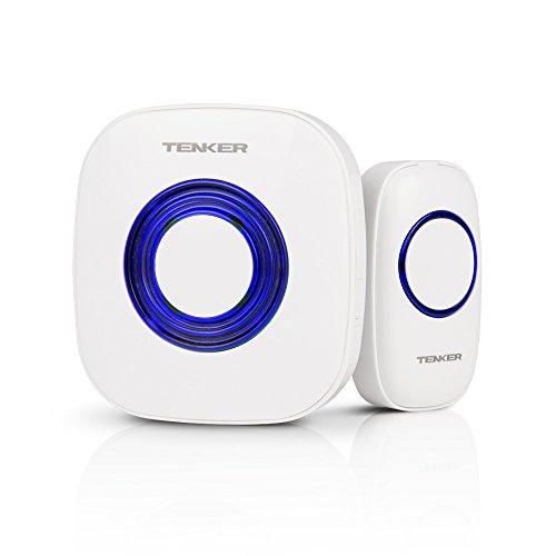 TENKER ワイヤレスチャイム 最高300Mの無線範囲 呼出音楽55曲選択可能 4段階音量調節可能 無線呼び出しチャイム 防犯ドアベル IP44防水 電池式 24ヶ月保証付 【日本語取扱説明書付き】