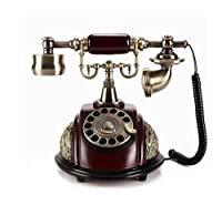 ターンテーブル電話、ヴィンテージスタイルの手動固定電話、リビングルームのベッドルーム