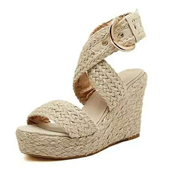 レディース サンダル Tongdaxinxi 女性 レディース ファッション カジュアル ビッグサイズ バックルウェッジ サンダル ローマの靴 人気 軽量 おしゃれ レディース サンダル
