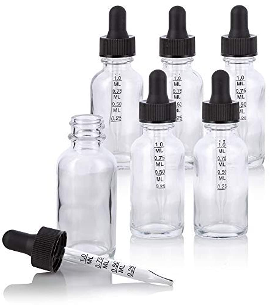 本土採用する吸収1 oz Clear Glass Boston Round Graduated Measurement Glass Dropper Bottle (6 pack) + Funnel for essential oils,...
