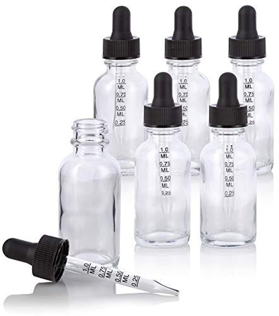 音節嫌なコンバーチブル1 oz Clear Glass Boston Round Graduated Measurement Glass Dropper Bottle (6 pack) + Funnel for essential oils,...