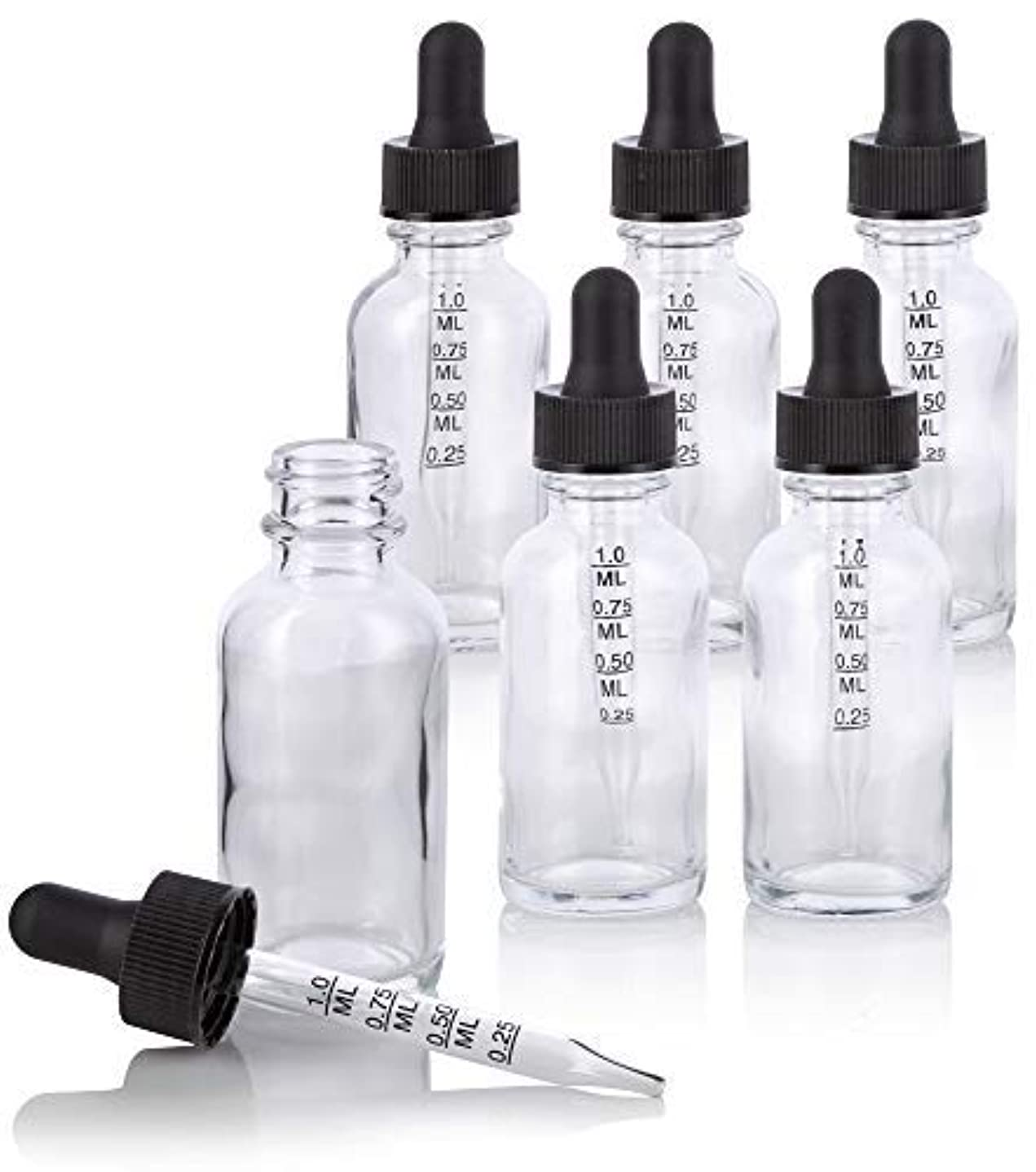 増加する印刷する風が強い1 oz Clear Glass Boston Round Graduated Measurement Glass Dropper Bottle (6 pack) + Funnel for essential oils,...