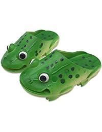 [Natsunohi] キッズサンダル 子供スリッパ ルームシューズ 室内 室外履き ビーチ カエル 形 春 夏 秋 可愛い 面白い 涼しい