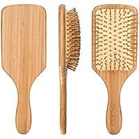 AZONT ヘアブラシ 木製櫛 美髪ケア 頭皮マッサージ ヘアブラシクリーナー 付き (24cm×8cm, 黄色)