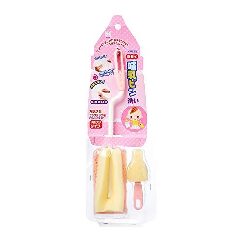 小久保 哺乳瓶用スポンジ 哺乳ビン洗い スポンジタイプ ピンク 3036