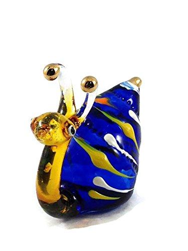 ガラスの動物 カタツムリ 手作り手吹きガラスの ガラス細工 ガラスの置物 ガラス ミニチュア 動物の置物 家の装飾 玩具動物園キッ - Miniature Dollhouse Animals snail figurines Glass Blown Toy Zoo Kid 002