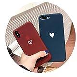 シンプルな愛iPhone xsの最大の携帯電話のシェルアップルX / 8plus / 7つのマットのシリコーンスリーブ6世の人格の女性モデル,7/8 generation 4.7 tpu blue small love