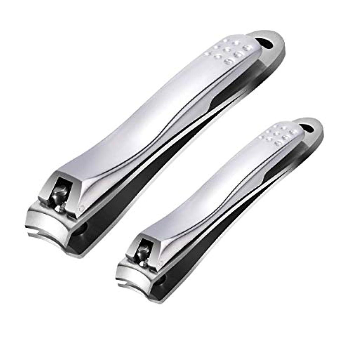 未亡人保守的伝統的つめきり ステンレス製高級 爪切り 爪やすり付き 手足はがね ツメキリ 握りやすい スパット切れる レザーケース付き付属 (2サイズ)