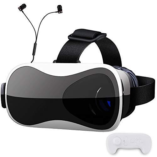 【 最新版 Gugusure】VRゴーグル VRヘッドセット ピント調整可能 メガネ対応 3.5~6.0インチのiPhone andorid 「イヤホン、Bluetoothコントローラ、日本語説明書付属」ブラック