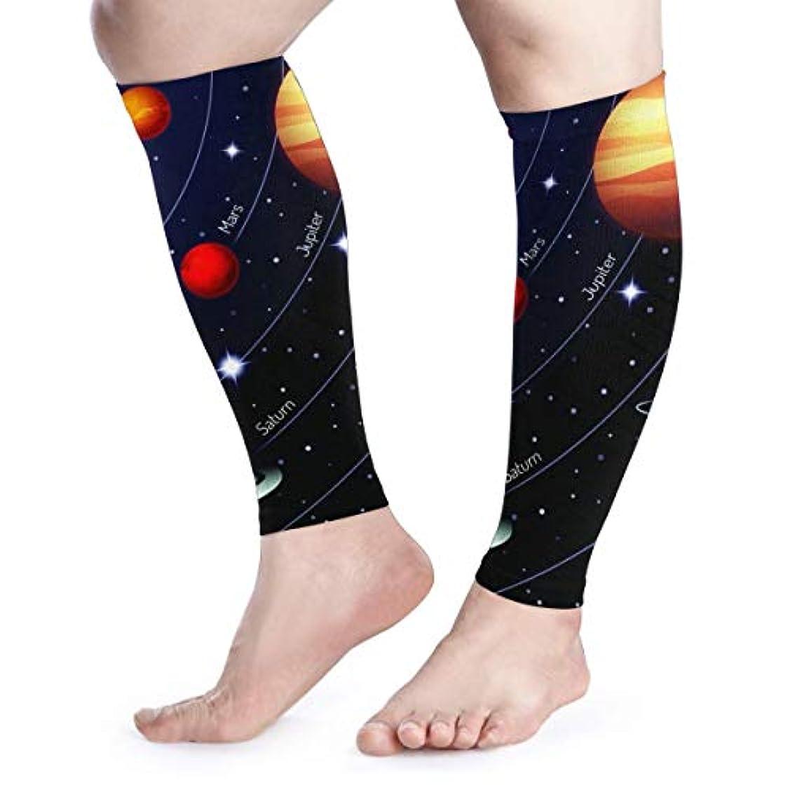 SUNJAN ふくらはぎサポーター宇宙 太陽系 薄手 通気 吸汗速乾 着圧 むくみ防止 高弾力 UV対策 スポーツ用 男女兼用