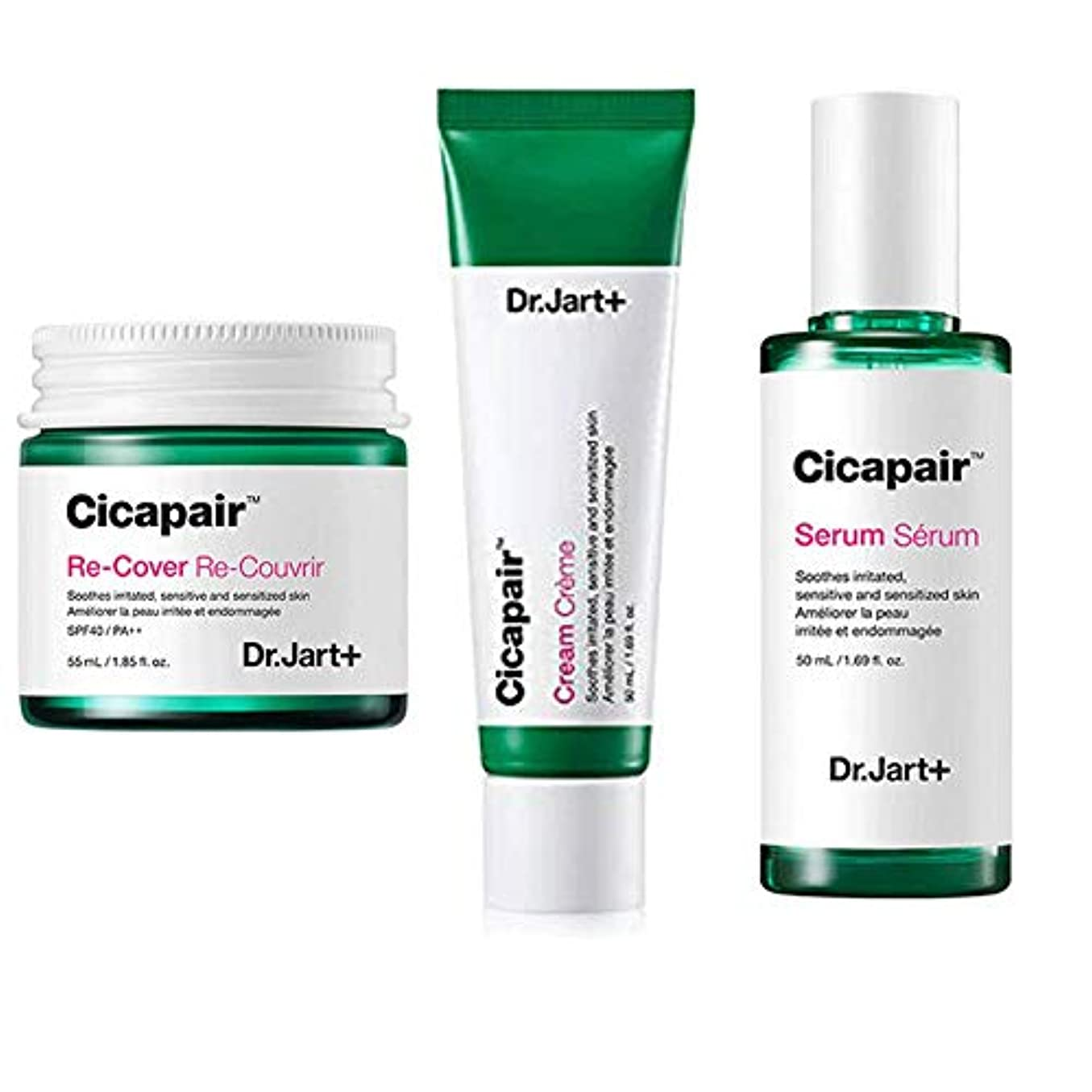 感じる彼の懐疑論Dr.Jart+ Cicapair Cream + ReCover + Serum ドクタージャルトシカペアクリーム50ml + リカバー 55ml + セラム 50ml(2代目) セット [並行輸入品]