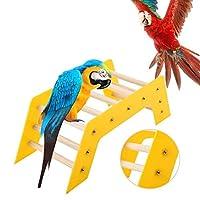 dooti鳥用橋玩具 立ちクライミングスライド階段 木製レインボーブリッジ 鳥用ブリッジ 橋 鳥玩具 小動物 運動不足対策(イェロー)