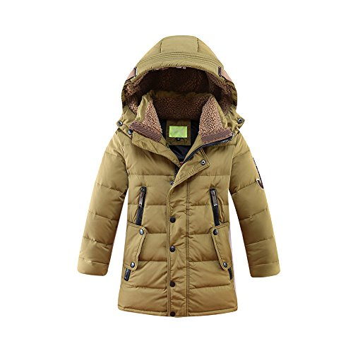 9a919e7e98457 子供 キッズ 服女の子 男の子 冬 ダウン 中綿 コート ジャケット アウター ベンチコート 冬防寒 カーキー 150CM 購入前に商品の説明で詳細サイズ表をご参照ください  ...