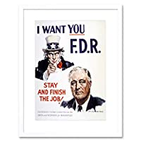 Propaganda Political Uncle Sam Roosevelt President Framed Wall Art Print 宣伝政治叔父大統領壁