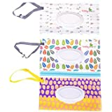 (003) - Yiphates 3Pcs Wet Wipe Pouch, Travel Wipes Case Reusable Refillable Wet Wipe Bag Travel Wipes Dispenser Wipe Pouches