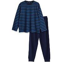 【ノーブランド品】 綿100%春・夏 長袖メンズパジャマ 柔らかく軽い薄手のTシャツパジャマ上下セット ボーダー