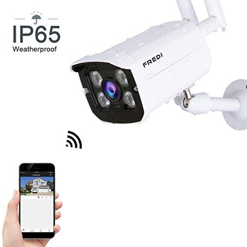 FREDI 防犯カメラ 屋外 ワイヤレス 防水 100万画素 監視カメラ 暗視 録音 動体検知 小型 Wi-Fiカメラ 専用アプリ利用 スマホ PCでリアルタイム映像対応