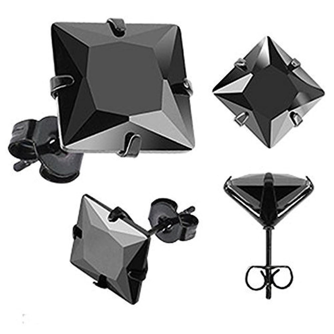 カフェ軸伝統的Urbanメンズブラックステンレス鋼スタッドイヤリング5 mm CZストーンのペアオス