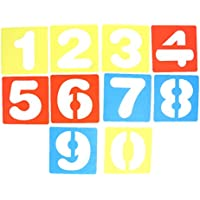 Perfk カラフル 子供用 DIYクラフト 早期教育 ステンシル 手紙テンプレート A-Z英語/0-9数字 全2セット選べ  - 0-9 数字セット, 10x10cm