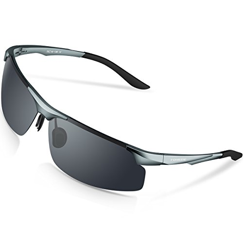Torege 偏光レンズ スポーツサングラス 超軽量 アルミニウム・マグネシウム合金 UV400 紫外線カット スポーツサングラス/ 自転車/釣り/野球/テニス/スキー/ランニング/ゴルフ/ドライブ M291 (グレー)
