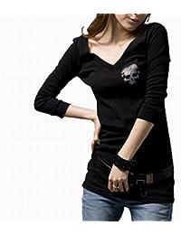 (ナンディン) nandin スカル 7分袖 Tシャツ ドクロ 髑髏 レディース トップス