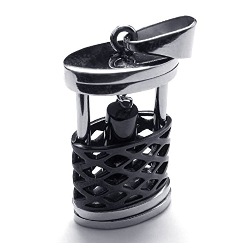 [テメゴ ジュエリー]TEMEGO Jewelry メンズステンレススチールヴィンテージペンダント2トーンセキュリティネットネックレス、ブラックシルバー[インポート]