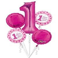 loonballoon Girl番号# 1 1st Firstピンク水玉( 5 )パーティーマイラーバルーンセットブーケ