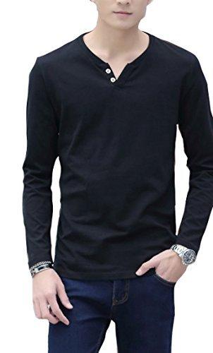 【 Smaids×Smile 】 Vネック メンズ ヘンリー ボタン デザイン Tシャツ カットソー 長袖 無地 安 ( ブラック , L )