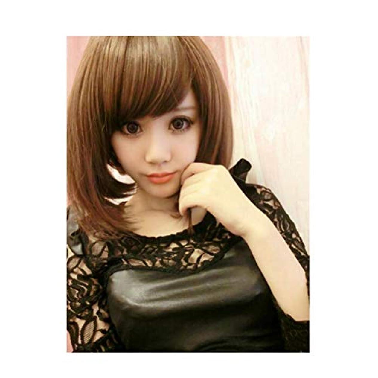 小間覗くはいかつら女性の茶色の斜め前髪化学繊維ショートヘア高温ワイヤーLH2201 (ライトブラウン)
