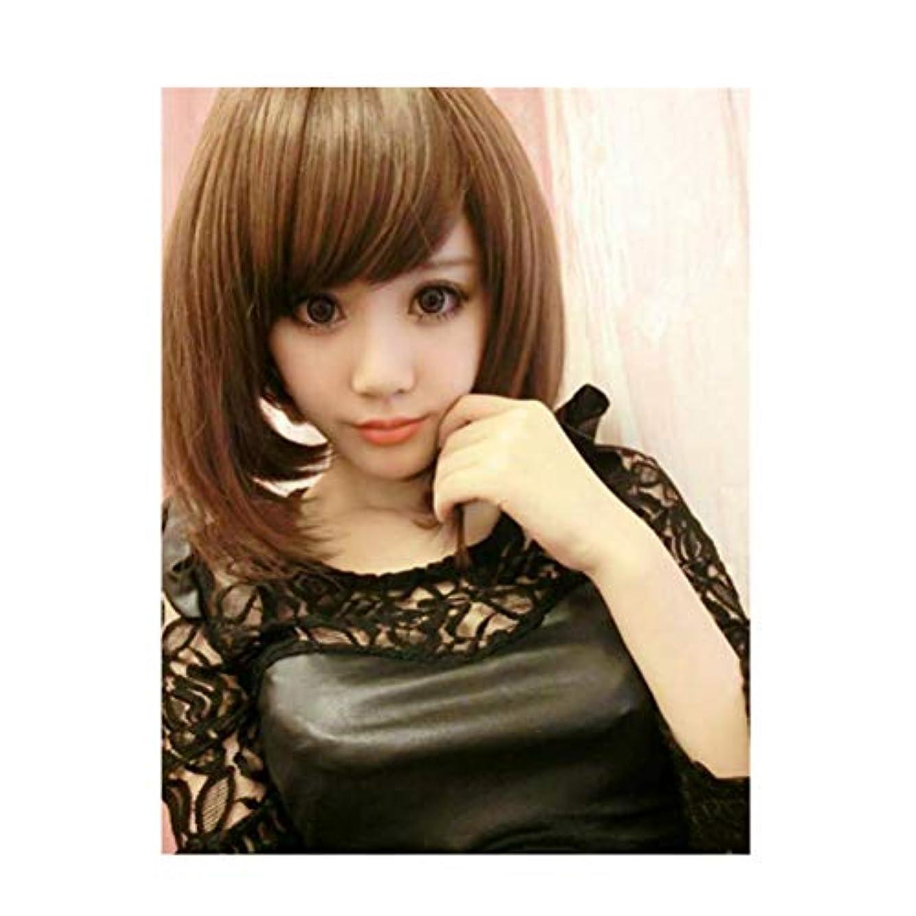 国民時折魅力かつら女性の茶色の斜め前髪化学繊維ショートヘア高温ワイヤーLH2201 (ライトブラウン)