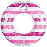 クラシック 男女兼用 浮き輪 レディース夏浮輪 水インフレータブルクリエイティブファッションストライプ水泳リング夏ポータブルスイミングプールビーチフローティングプールの装飾大人子供カップルハンドル メガ割引 ( Color : Pink )