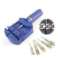 Tyou プロ用時計工具 時計ベルト調整 腕時計工具キット プラスチック製こまはずし 交換ピン サイズ調整 修理 工具 5点 セット (ブルー)