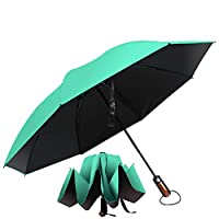 Hailstorm Inverted Umbrella. A Compact Umbrella with Ergonomic Handle, Full Fiberglass Ribs and UV Protection