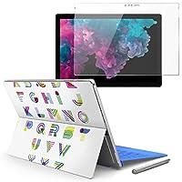 Surface pro6 pro2017 pro4 専用スキンシール ガラスフィルム セット 液晶保護 フィルム ステッカー アクセサリー 保護 英語 アルファベット 013978