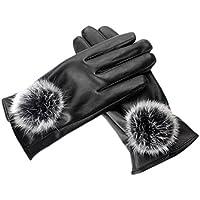 ファッションレザー防風Driving Iphone手袋暖かいベルベットのタッチスクリーン手袋women-black