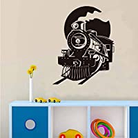 Ansyny ホームウォールアート列車の壁デカール正面図の列車デカール用キッズベッドルームデカール男の子ウォールステッカーDiyアートビニール壁画58 * 73センチ