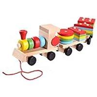 (ヨーサ)YOSA 木のおもちゃ 機関車 列車 積み木セット パズル 形合わせ 棒さし 引っぱり 幼児 知育玩具